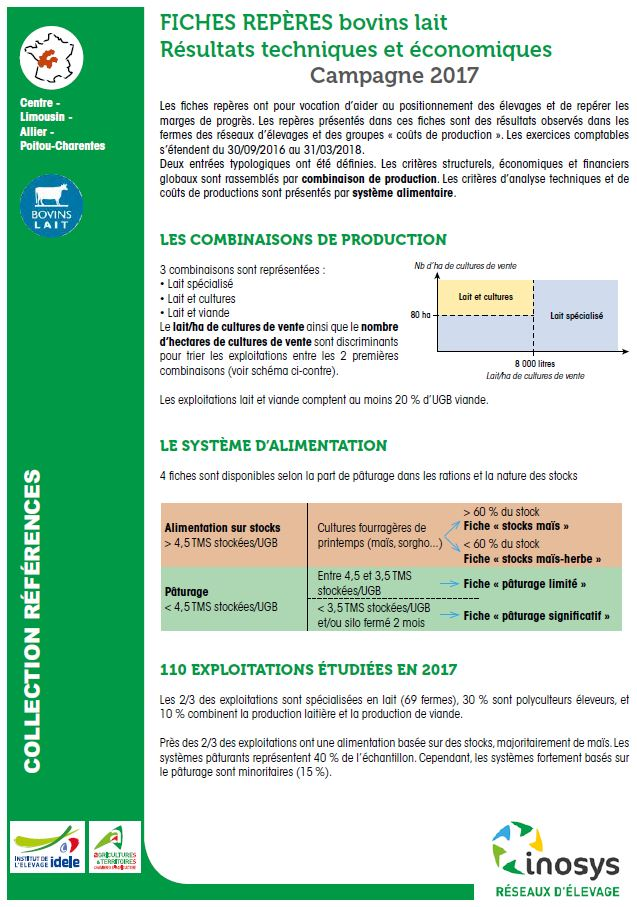 Rep res technico conomiques bovins lait campagne 2017 - Chambre agriculture alpes maritimes ...
